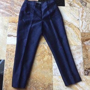 Banana republic navy raw silk pant/side zip/button